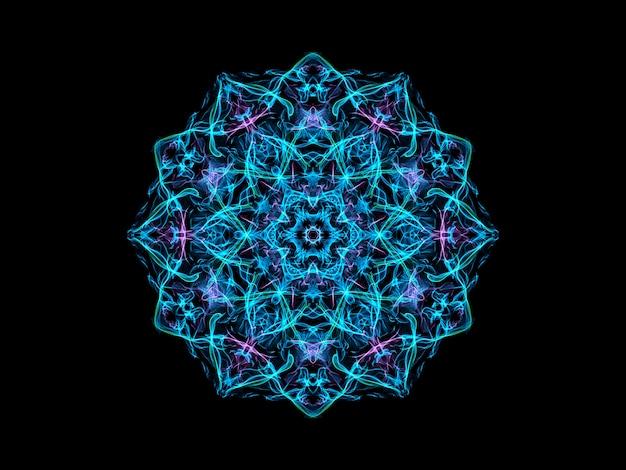 Floco de neve abstrato mandala azul e violeta Foto Premium