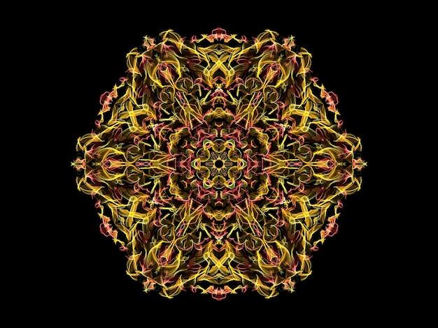 Flor de mandala de chama abstrata amarela e coral, padrão floral hexagonal ornamental em preto Foto Premium