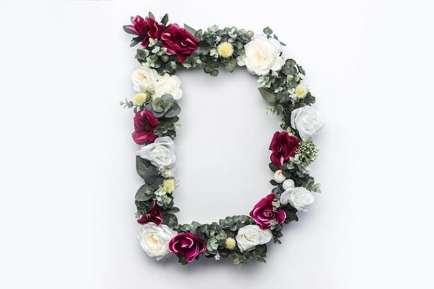 Flor letra d monograma floral foto gratuita Foto gratuita