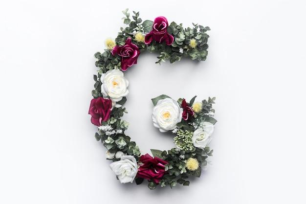 Flor letra g monograma floral foto gratuita Foto gratuita
