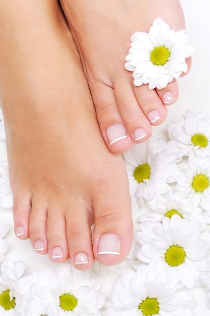 Flores ao redor de pés de mulher bem tratados com pedicure de beleza Foto gratuita