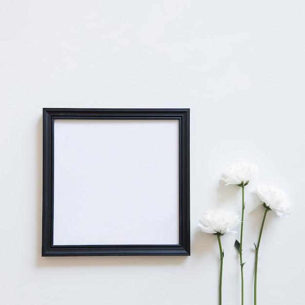 Flores brancas e moldura para a primavera Foto gratuita