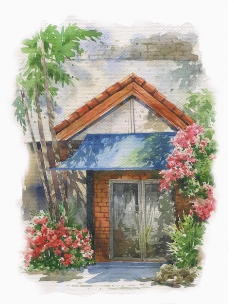 Flores coloridas abstratas e casa na pintura em aquarela. Foto Premium