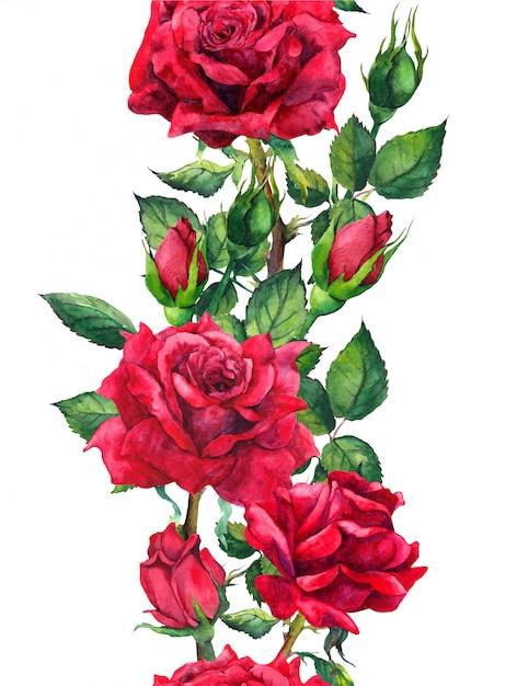 Flores de rosas vermelhas - padrão floral sem emenda Foto Premium