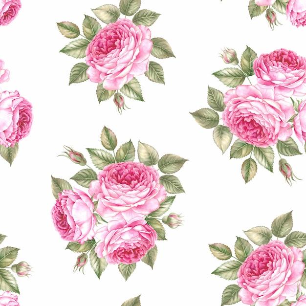 Flores e folhas, sem costura padrão aquarela. Foto Premium