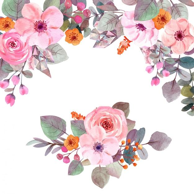 Flores em aquarela com espaço de cópia Foto Premium