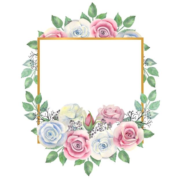 Flores em aquarela de rosas azuis e rosa, folhas verdes, bagas em uma moldura quadrada dourada Foto Premium