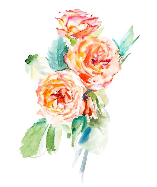 Flores em aquarela decorativas. ilustração floral, folhas e botões. composição botânica para casamento ou cartão de felicitações. ramo de flores - rosas de abstração Foto Premium