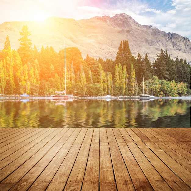 Floresta costa natureza onda de madeira Foto gratuita