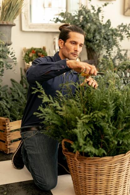 Florista experiente que apara as plantas Foto gratuita