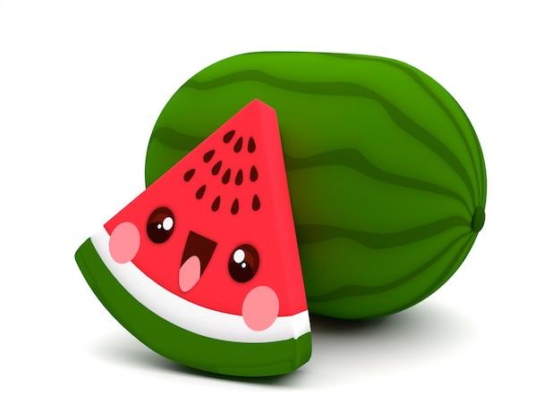 Fofo E Feliz Vermelho E Verde Melancia Fruta Kawaii Personagem De