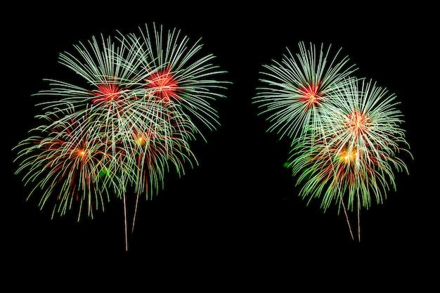 Fogos de artifício abstratos iluminam o céu escuro Foto Premium