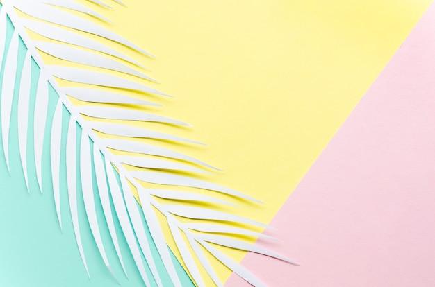 Folha de palmeira de papel na mesa multicolorida Foto gratuita