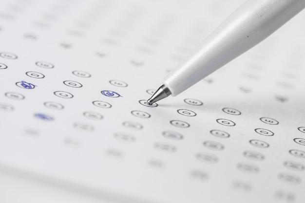 Folha de pontuação de teste com respostas Foto Premium