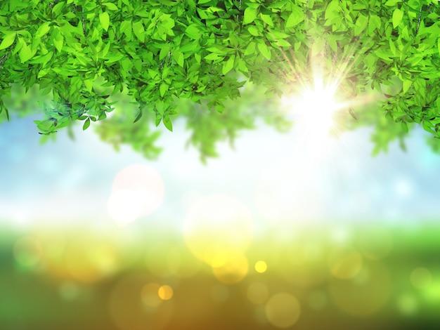 Folhas 3d em um fundo desfocado com luzes de bokeh Foto gratuita