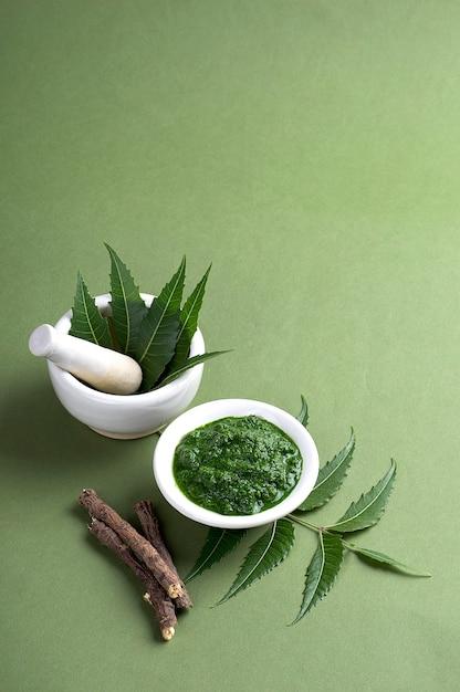 Folhas de neem medicinal em almofariz e pilão com pasta e galhos na superfície verde Foto Premium