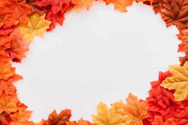 Folhas de outono na composição de moldura arredondada Foto gratuita