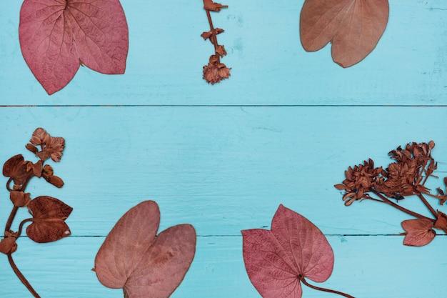 Folhas em madeira azul Foto Premium