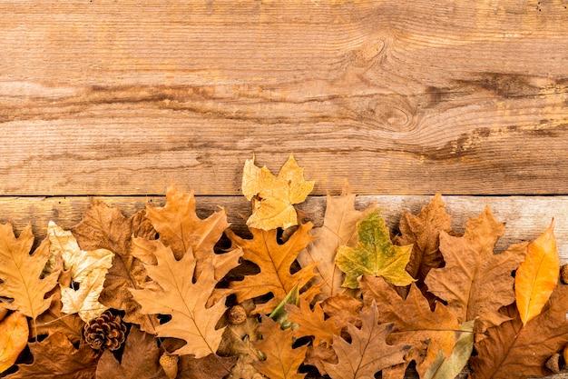 Folhas secas de outono em fundo de madeira Foto gratuita