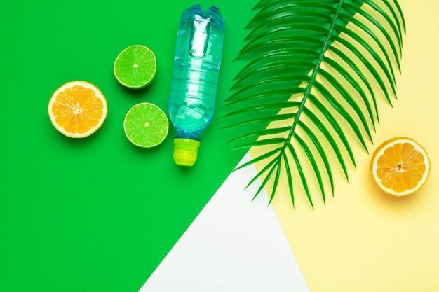 Folhas tropicais e garrafa de água. desintoxicação de água com infusão de frutas. Foto Premium