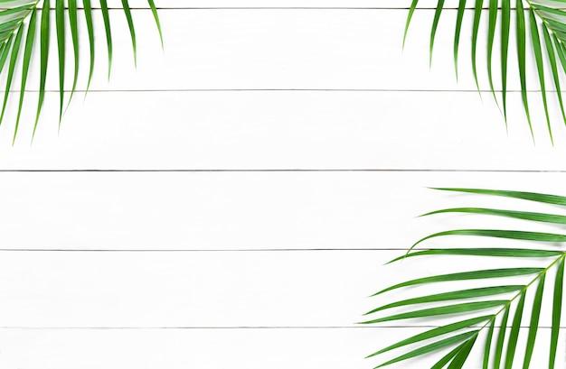 Folhas verdes de palmeira na mesa de madeira branca Foto Premium