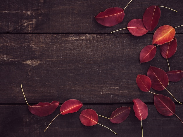 Folhas vermelhas e superfície marrom de tábuas de madeira Foto Premium