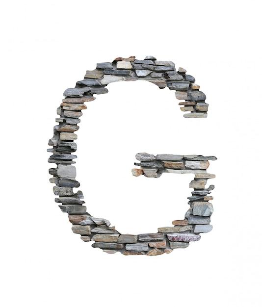 Fonte de g para criar da parede de pedra isolada no branco. Foto Premium