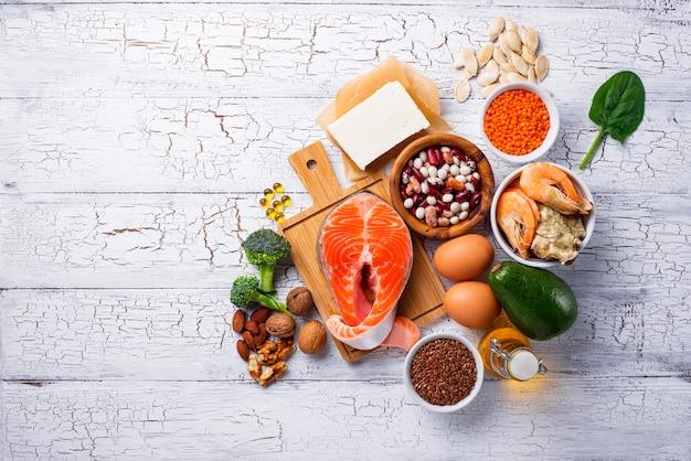 Fontes de produtos de ácidos omega-3 Foto Premium