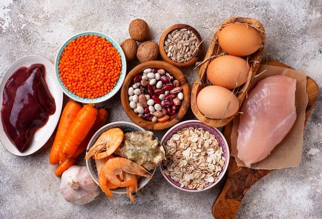 Fontes de produtos saudáveis de zinco. Foto Premium