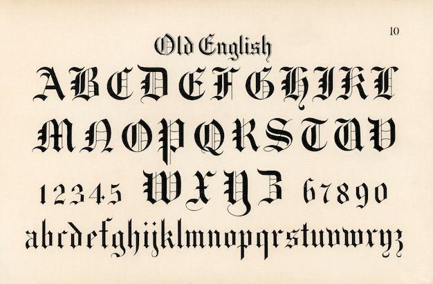 Fontes inglesas velhas da caligrafia dos alfabetos de draughtsman por hermann esser Foto gratuita