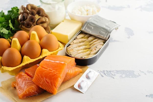 Fontes naturais de vitamina d Foto Premium
