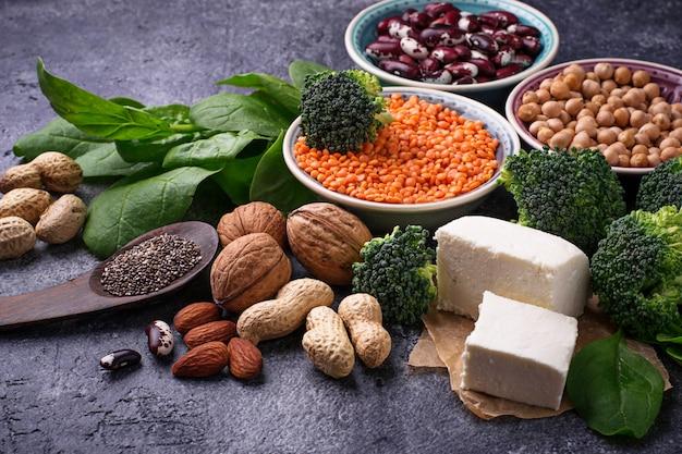 Fontes veganas de proteína Foto Premium