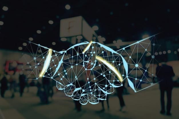 Forma de aperto de mão, escrevendo por linhas e pontos sobre foto desfocada abstrata de evento de exposição financeira Foto Premium