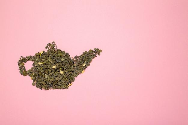 Forma de bule de chá de jasmim verde seco Foto Premium