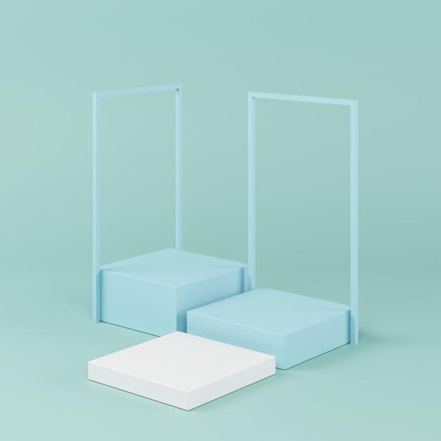 Forma de geometria abstrata cor azul, pódio mínimo para o produto, renderização em 3d Foto Premium
