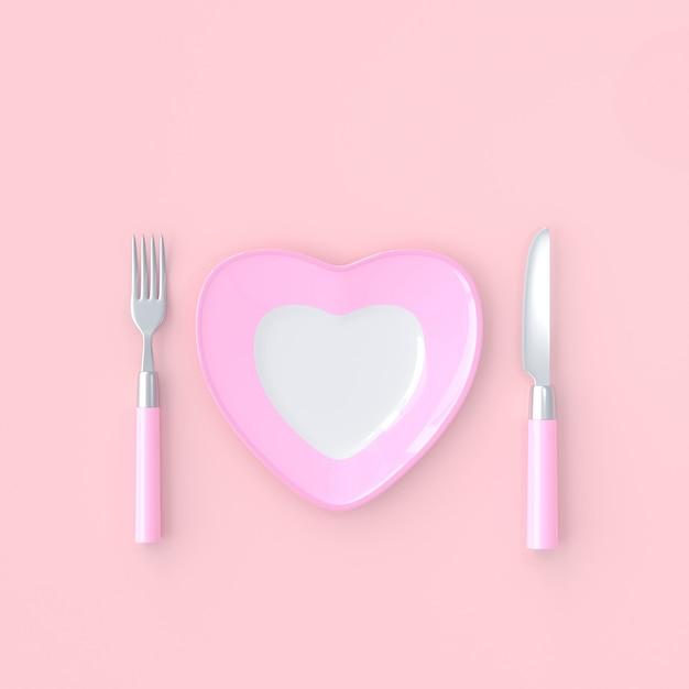 Forma do coração da placa com faca e cor cor-de-rosa da forquilha. conceito da ideia do amor, 3d rendem Foto Premium