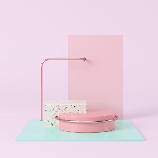 Forma geométrica abstrata da cor pastel, exposição do pódio para o produto. conceito mínimo. renderização 3d. Foto Premium