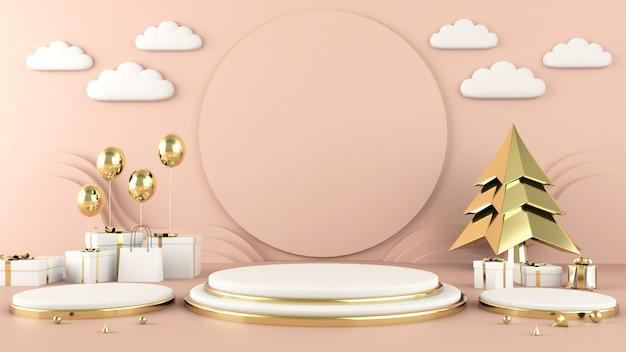 Forma geométrica abstrata decorações de natal Foto Premium