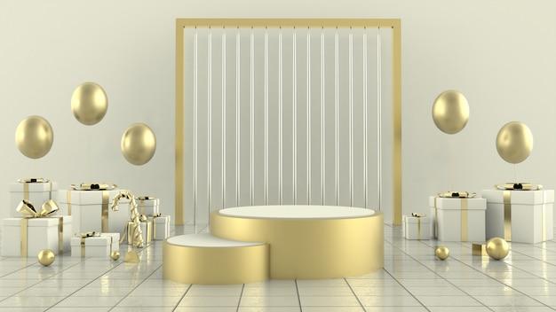 Forma geométrica árvore de natal cena conceito decoração renderização em 3d - ilustração 3d Foto Premium