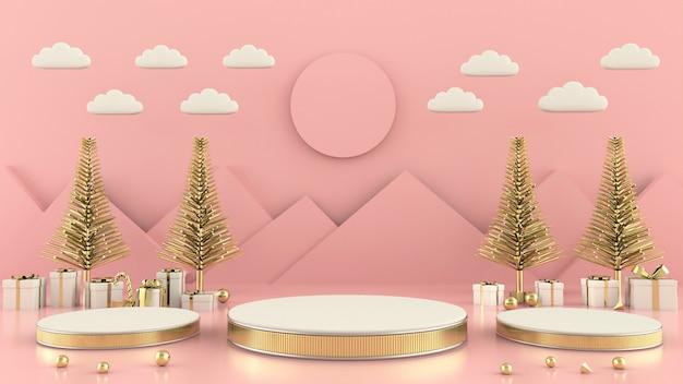 Forma geométrica árvore de natal cena conceito decoração renderização em 3d Foto Premium