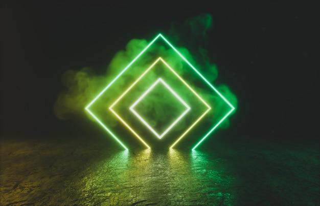 Forma geométrica com luz de neon no quarto preto. Foto Premium