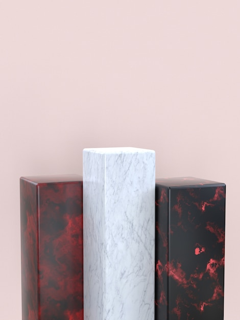 Forma geométrica de textura de mármore conjunto pódio em branco / prateleira renderização em 3d Foto Premium