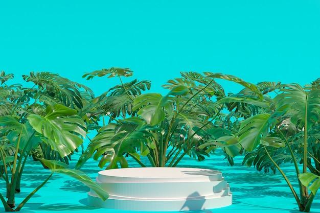 Forma geométrica do pódio branco no jardim natural de monstera deliciosa para a exibição de produtos, fundo verde abstrato do borrão, banners de mídia social da promoção de espaço vazio cópia, renderização em 3d Foto Premium
