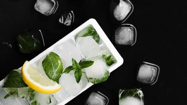Forma para gelo, cubos de gelo e fatia de limão Foto gratuita
