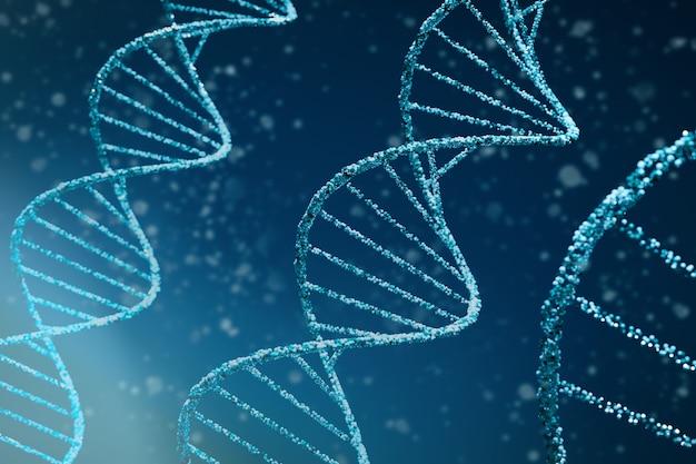 Formação médica dna abstrata. ilustração 3d das moléculas de dna de dupla hélice azul usadas em tecnologias como bioinformática, engenharia genética, perfil de dna (ciência forense) e nanotecnologia Foto Premium