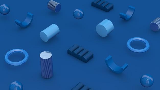 Formas geométricas azuis. conceito de tecnologia. ilustração abstrata, renderização 3d. Foto Premium