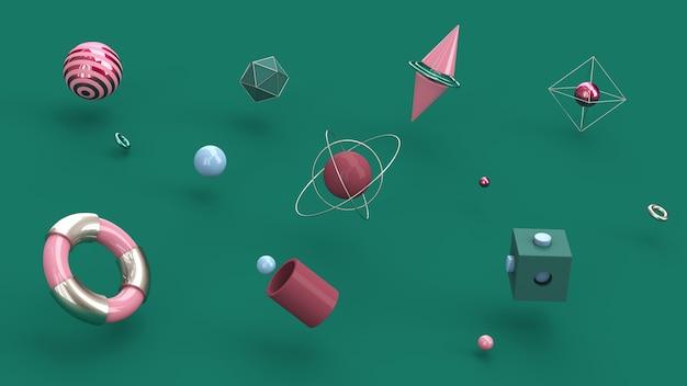 Formas geométricas coloridas. fundo verde. ilustração abstrata, renderização 3d. Foto Premium