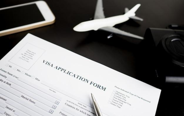 Formulário de pedido de visto de viagem de preenchimento para férias Foto Premium