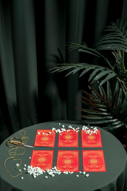 Fortuna, dizer, vermelho, tarot, cartões Foto gratuita