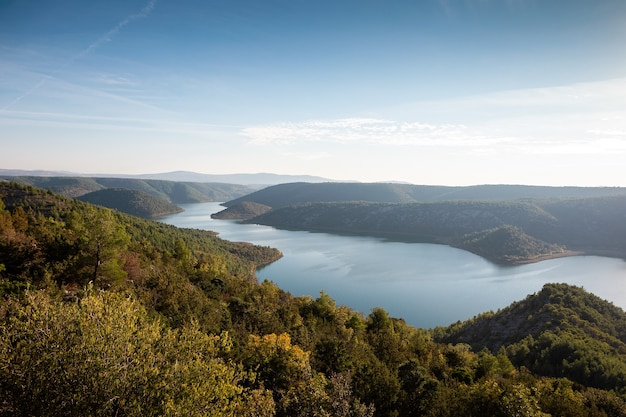 Foto aérea do lago viscovacko, na croácia, cercado por uma natureza incrível Foto gratuita